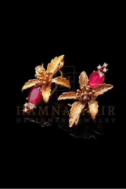 Picture of Gold Plated Ruby Earrings