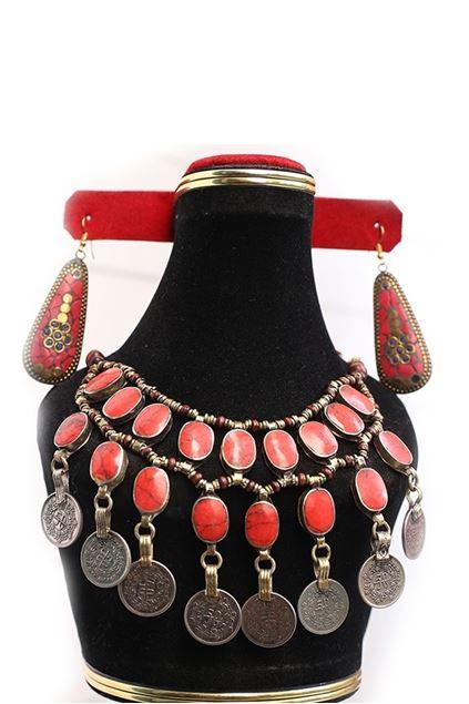 Picture of Golden Bracelet Red Stone & Earrings